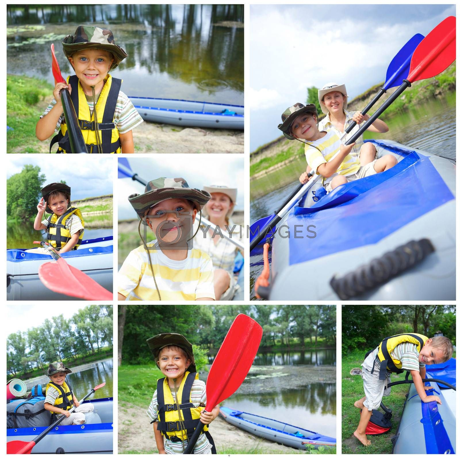 Collage of happy little boy with mother paddling kayak on the river in lovely summer day