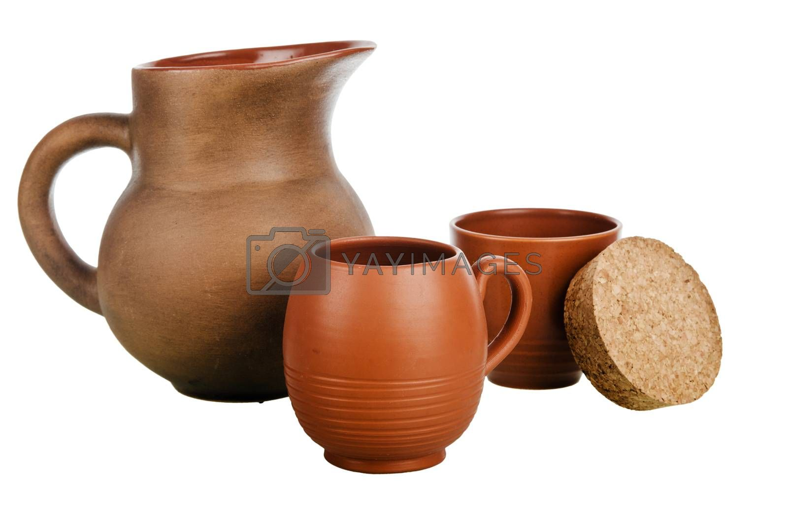 Set of Pottery, it is isolated on white