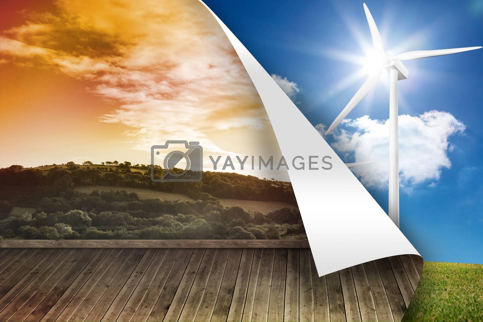 Sunny landscape on wall over turbine background by Wavebreakmedia