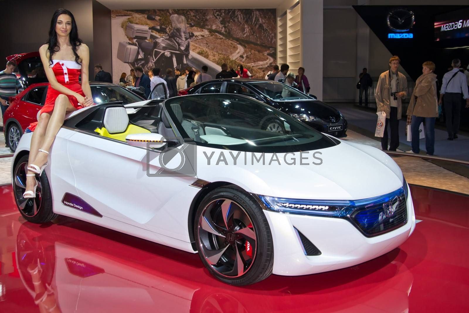MOSCOW-SEPTEMBER 6: Honda Concept EV  at the Moscow International Automobile Salon on September 6,2012 in Moscow