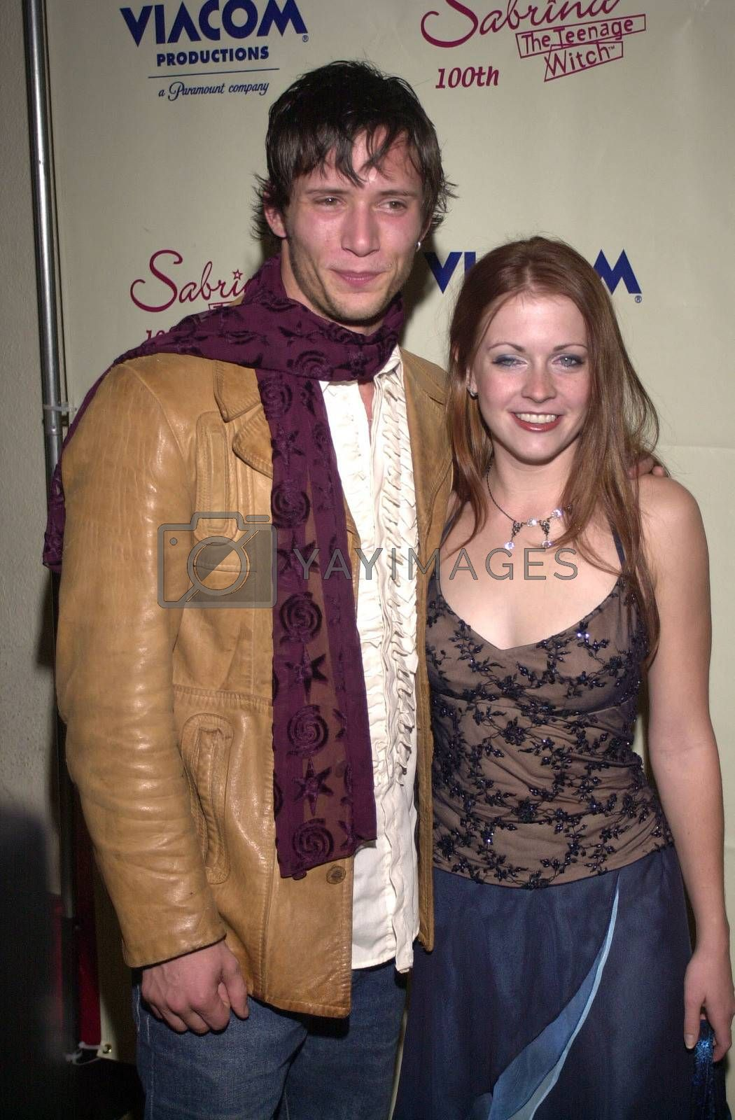 """Melissa Joan Hart and boyfriend at the party to celebrate the 100th episode of """"Sabrina the Teenage Witch"""" in Hollywood, 10-23-00"""