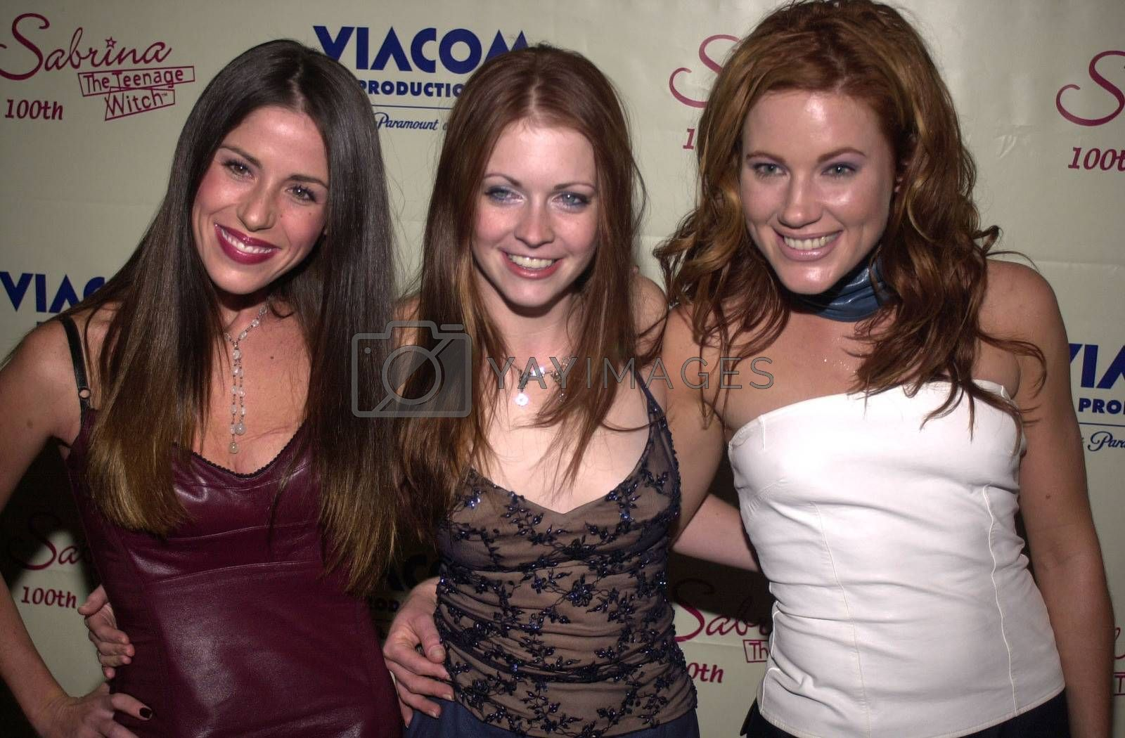 """Soleil Moon Frye and Melissa Joan Hart and Friend at the party to celebrate the 100th episode of """"Sabrina the Teenage Witch"""" in Hollywood, 10-23-00"""
