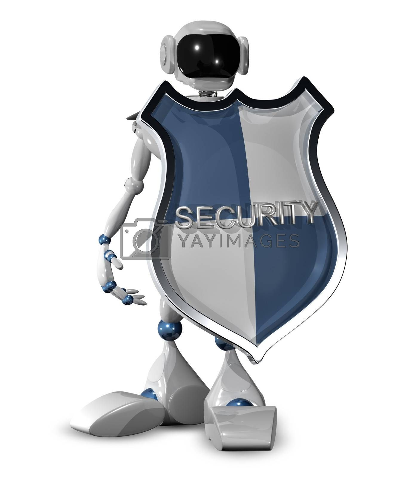 3d illustration of a robot with a shield