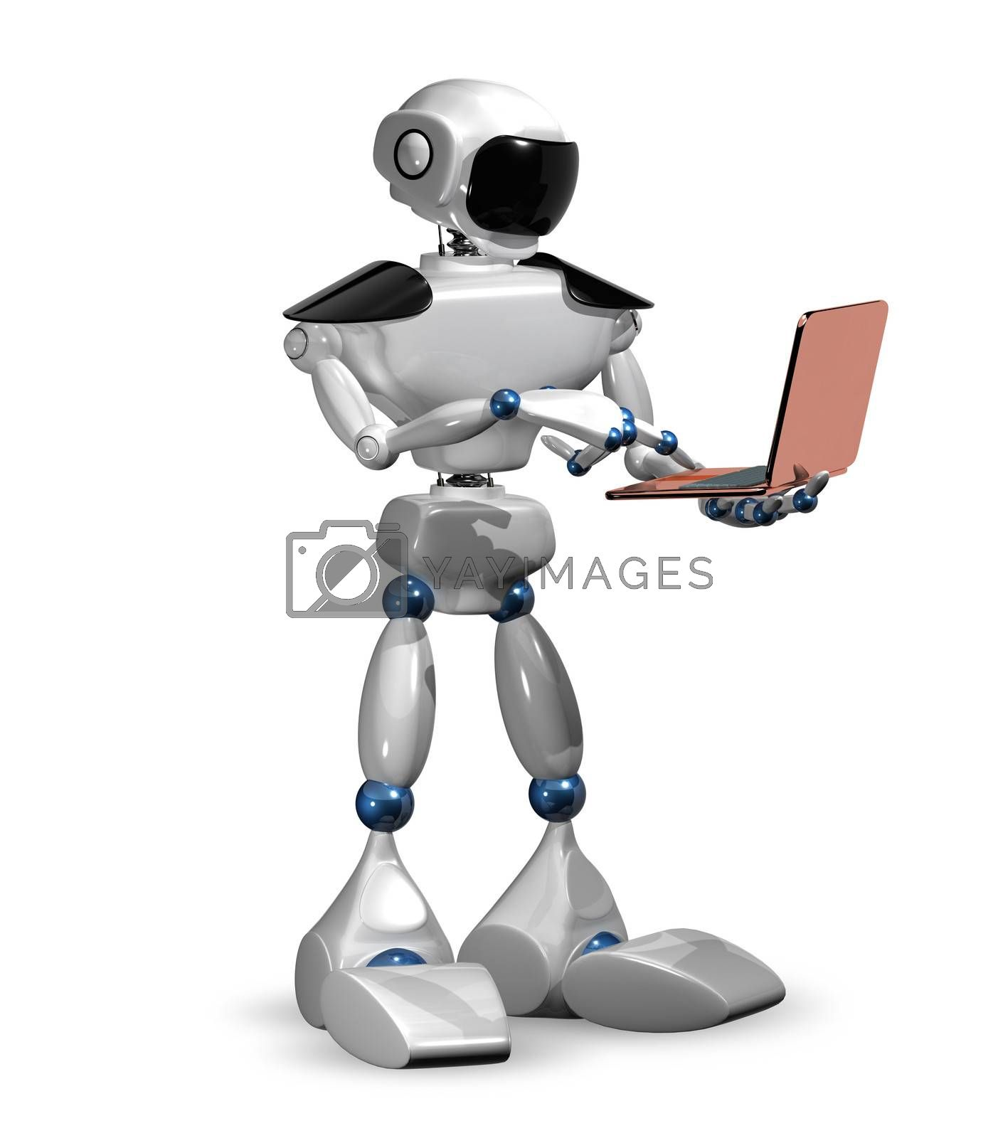 3d abstract illustration of a robot with the notebook
