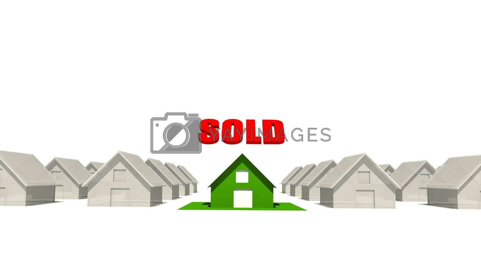 """Real estate homes with a """"Sold"""" sing on one of the houses."""