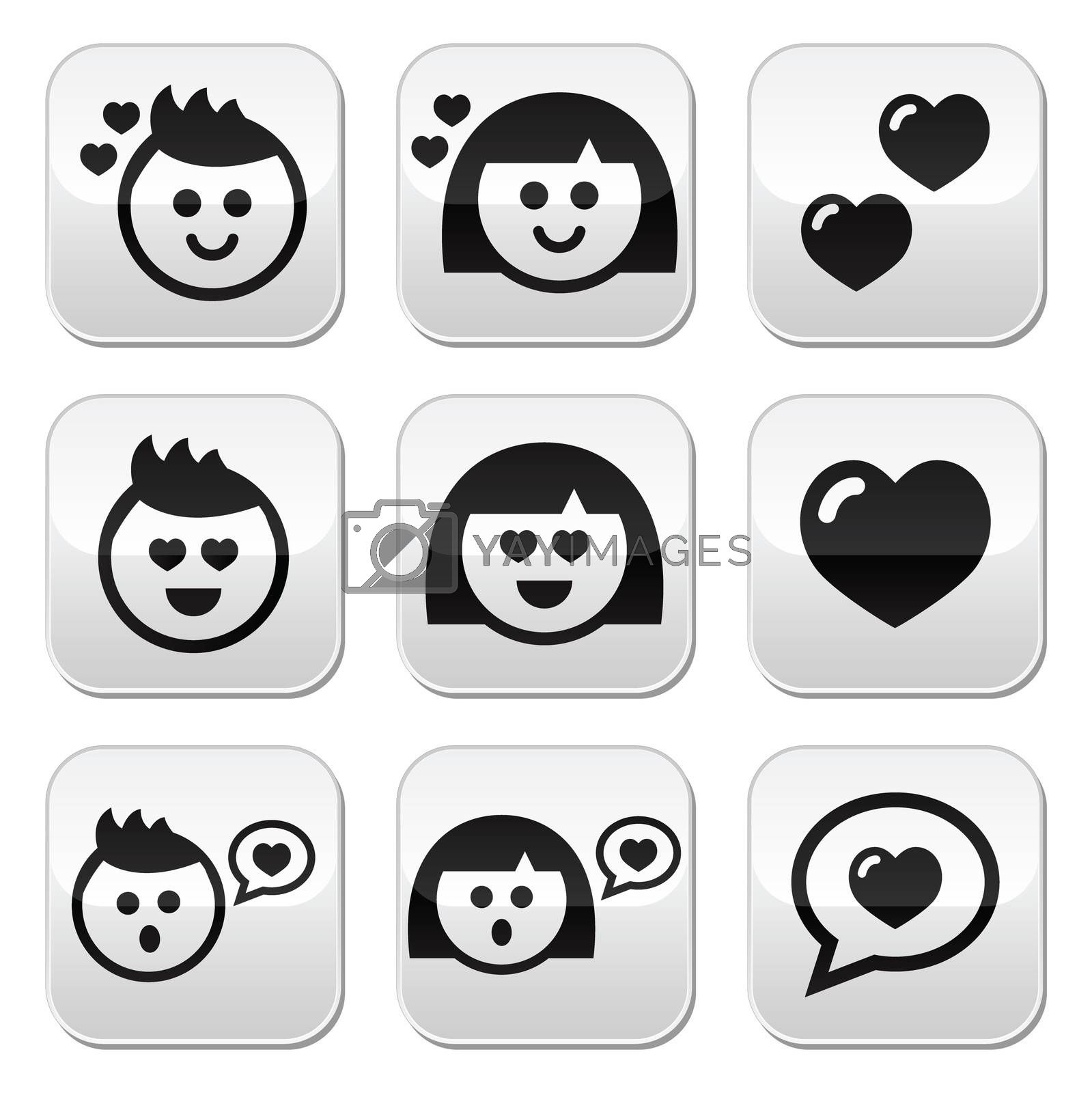 Boy, girl faces with hearts buttons set isolated on white