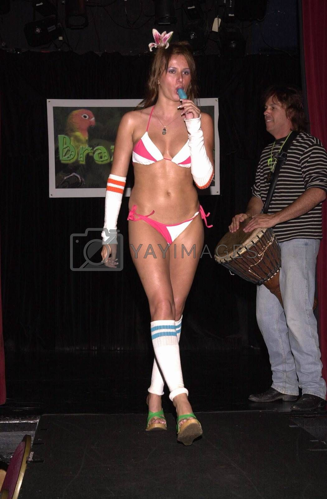 Model wearing the Braziliana swimwear collection at the Moviemaking Technology Showcase, featuring cutting edge movie technology, as well as two fashion shows, The Century Club, Century City, CA, 09-03-02