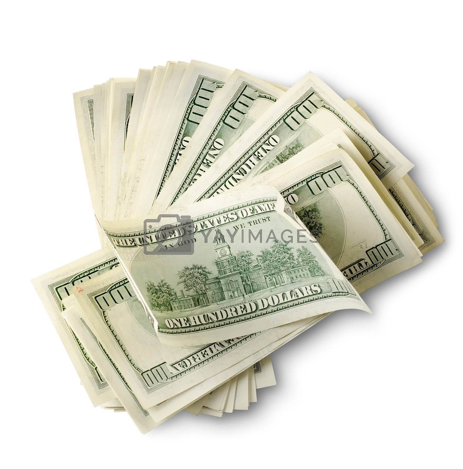 Pack of american dollars isolated on a white background