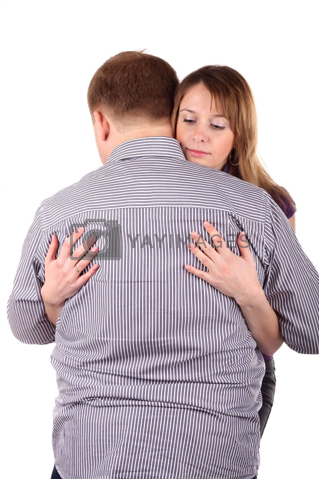 Girl embraces man isolated on the white background