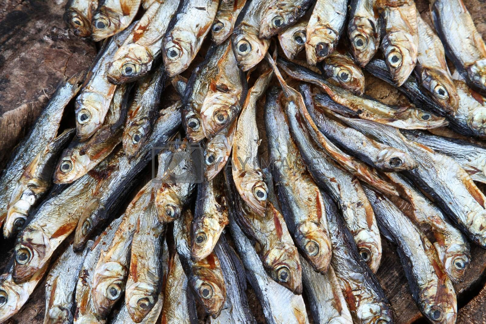 Small dried fishes on a stack on wood