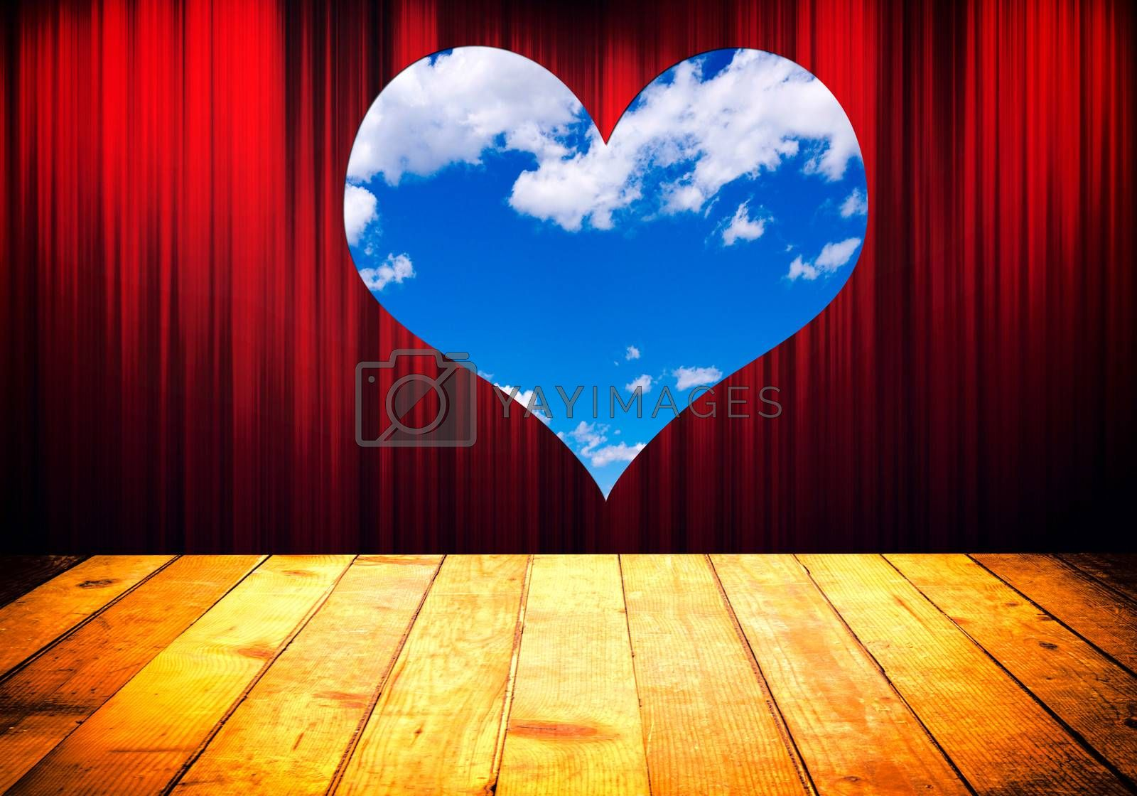 Theater stage with red curtain and heart shape window