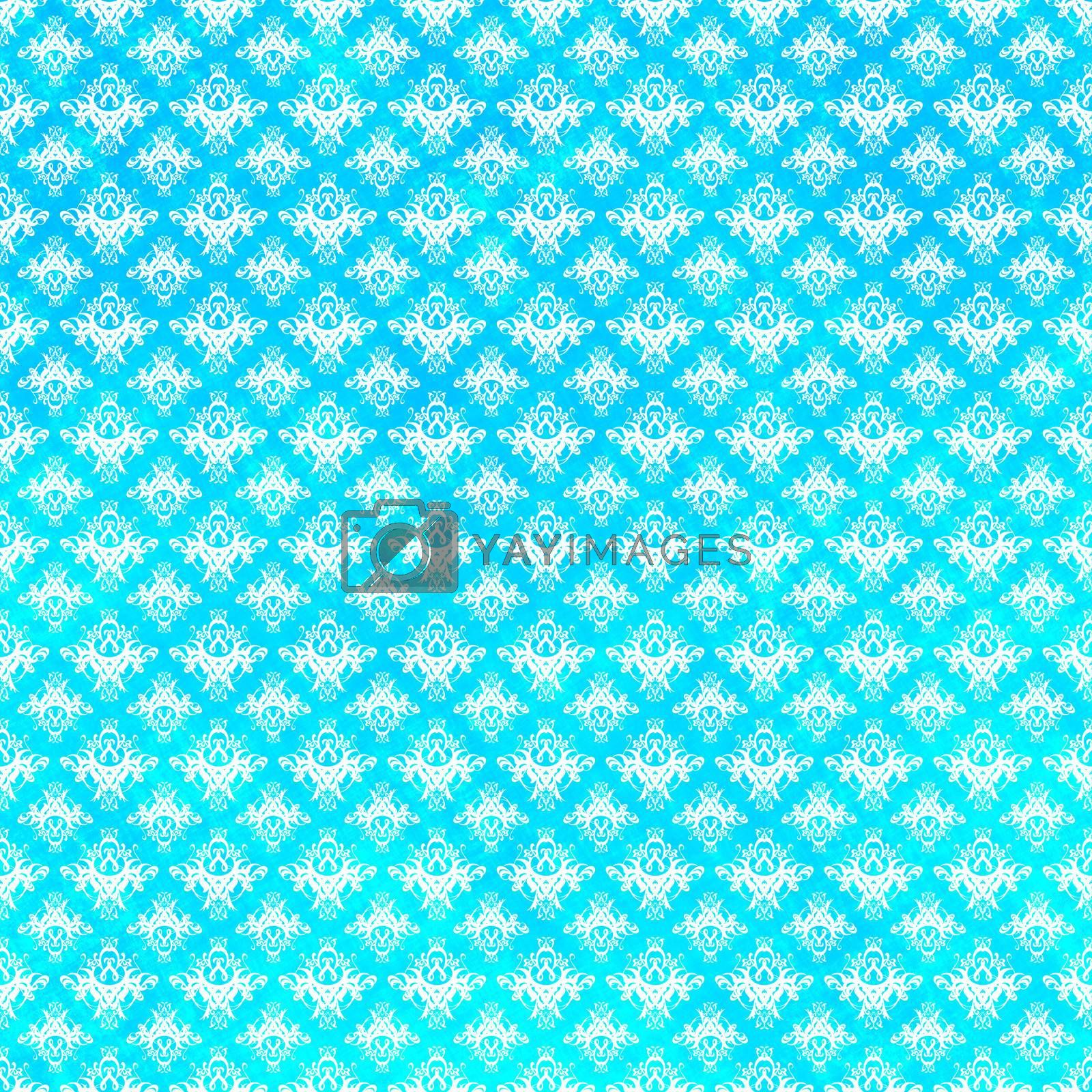 Blue damask pattern with grunge textures.