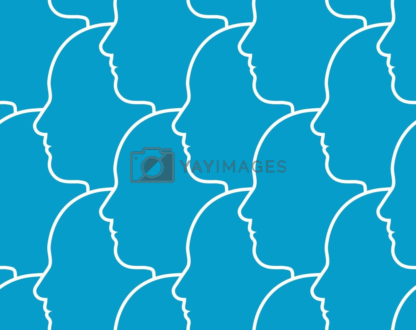 Seamless pattern of the outline of human heads in profile overlapping each other all facing in the same direction