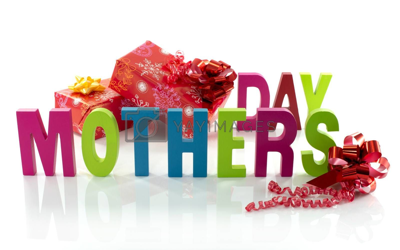 letters in red green blue with mothers day text on white background