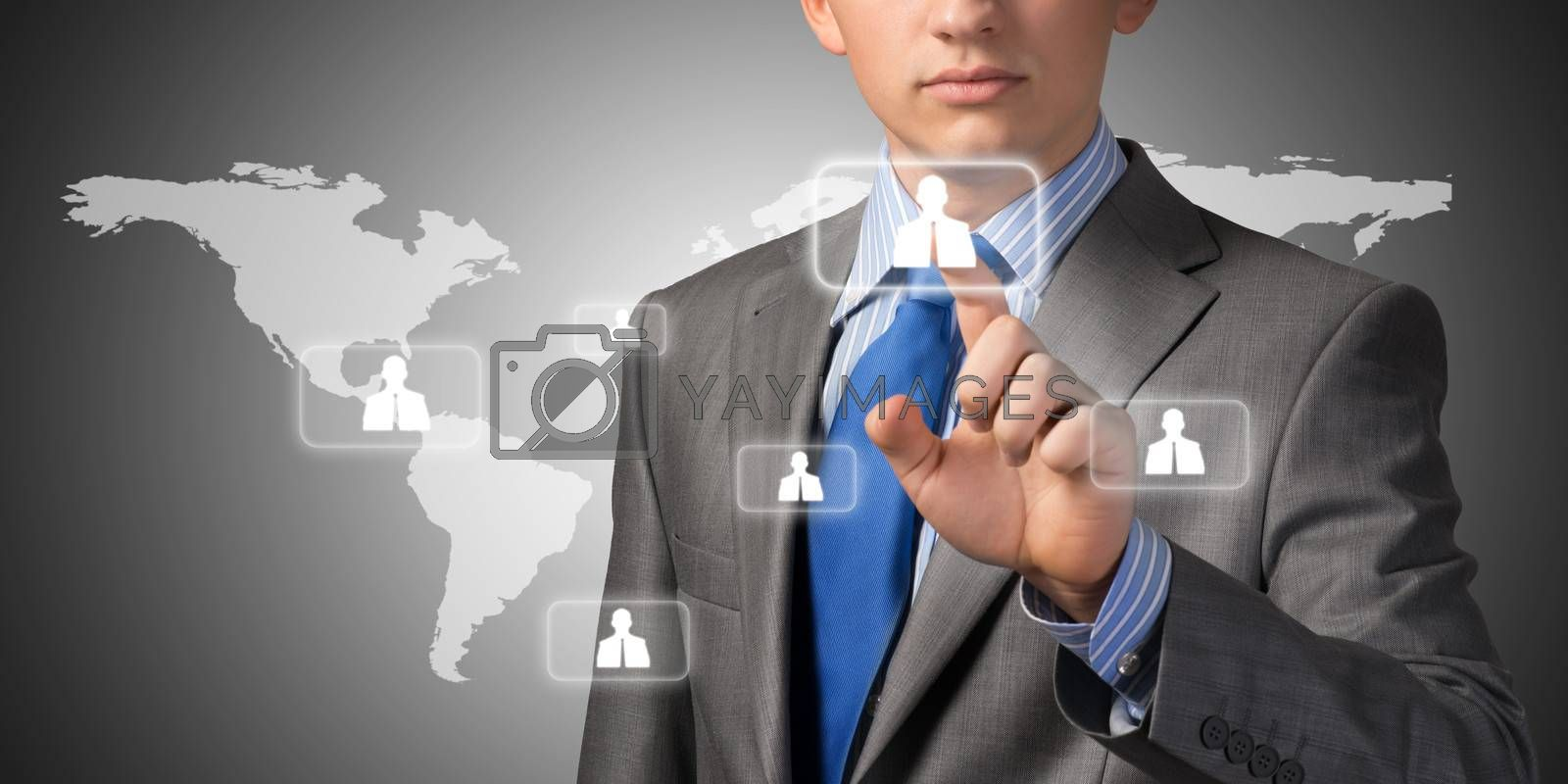 businessman pushing social network on the symbols on the touch screen
