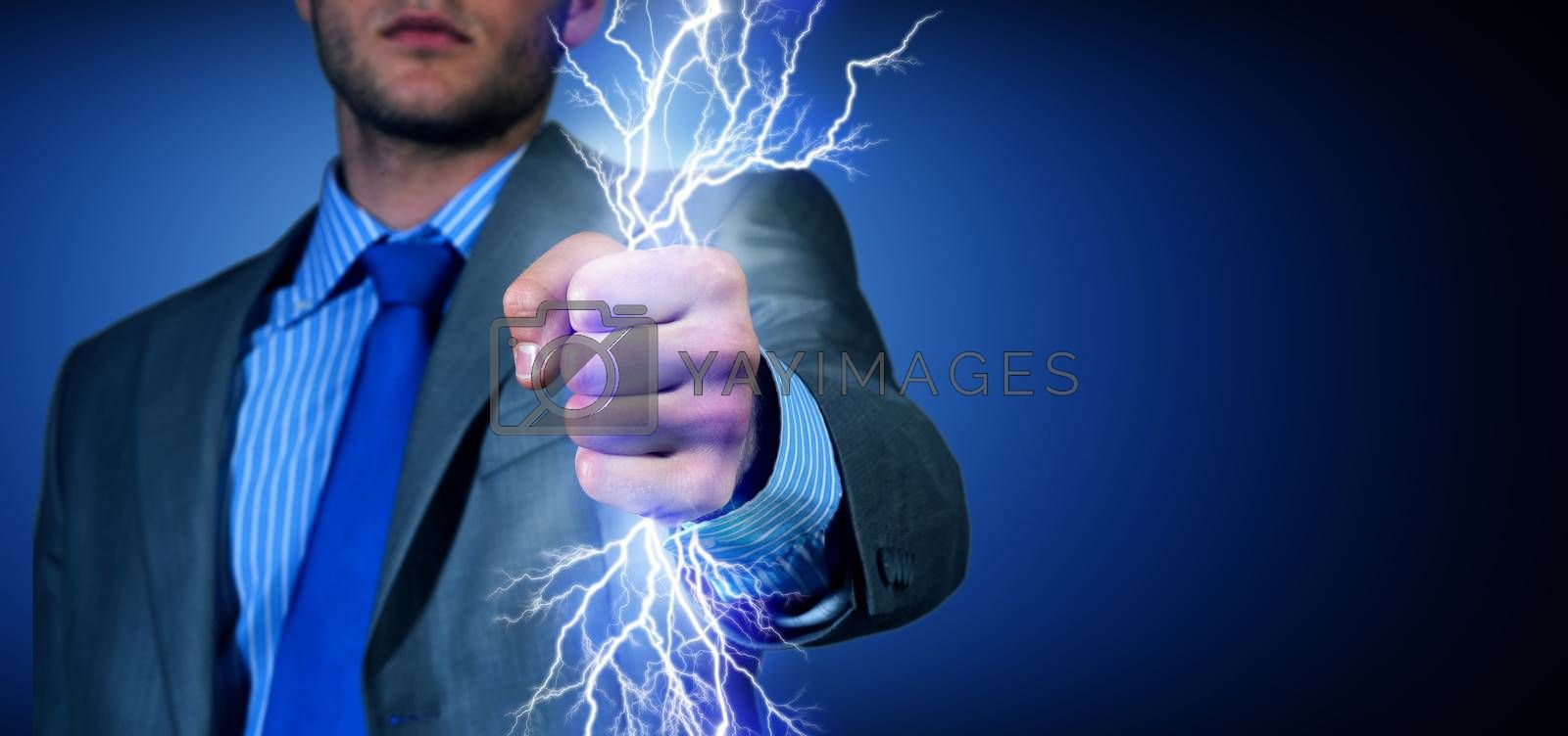 close-up of clasped hand, hand of lightning flashes and lights