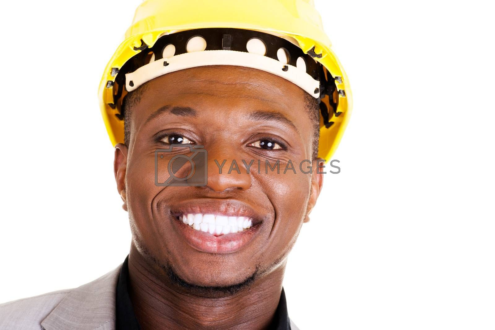 Happy successful businesman in helmet. Isolated on white.