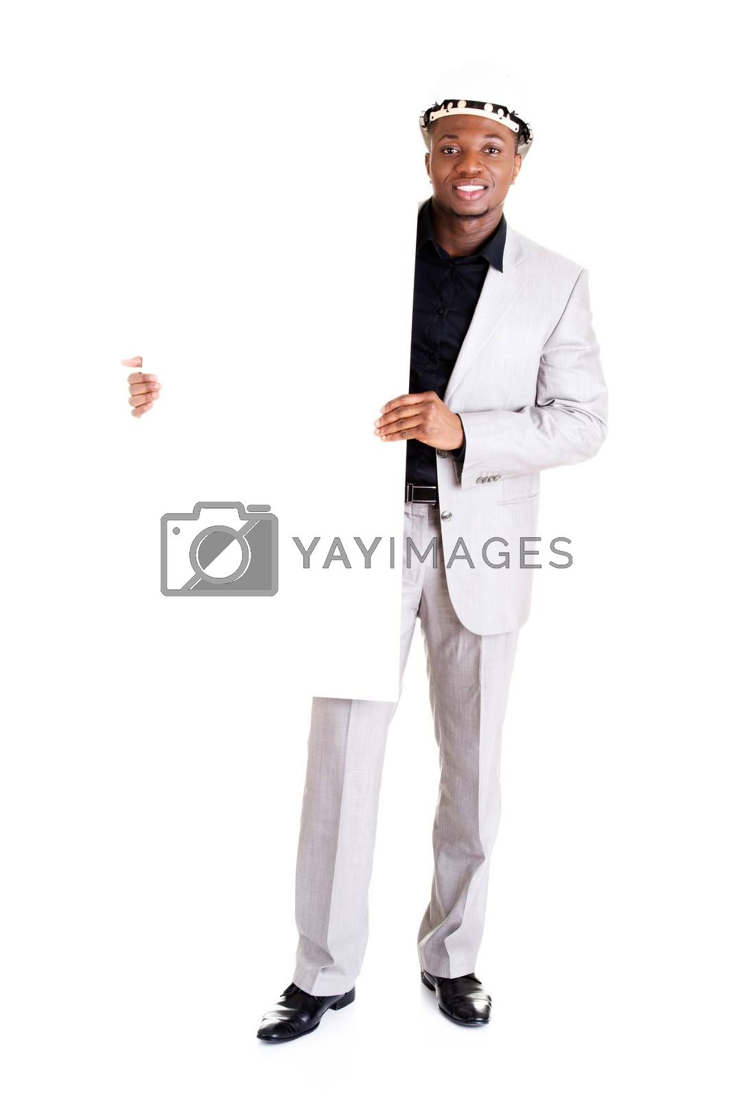 Businessman presenting empty banner. Isolated on white background