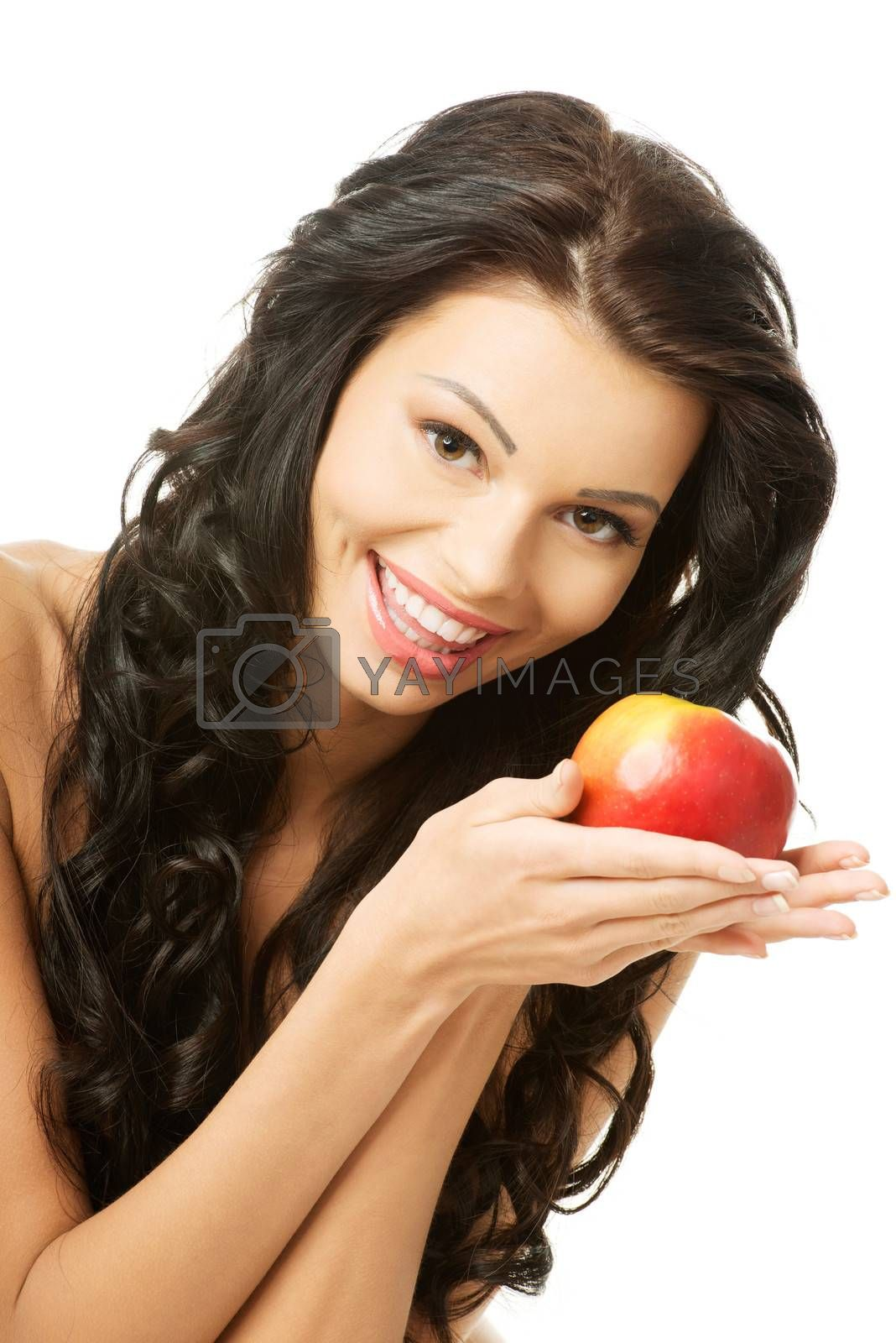 Sexy woman with red apple, isolated on white
