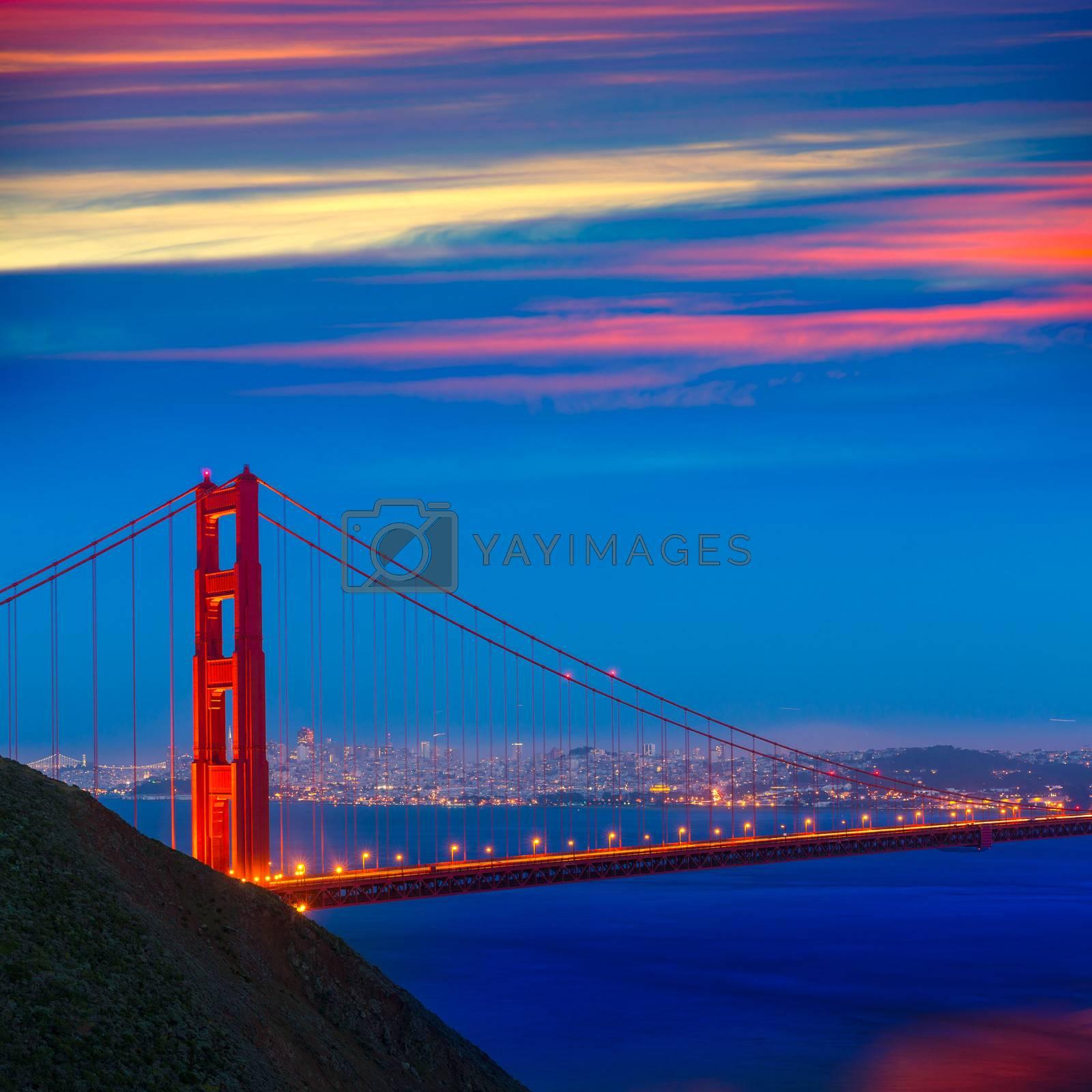 Royalty free image of San Francisco Golden Gate Bridge sunset California by lunamarina