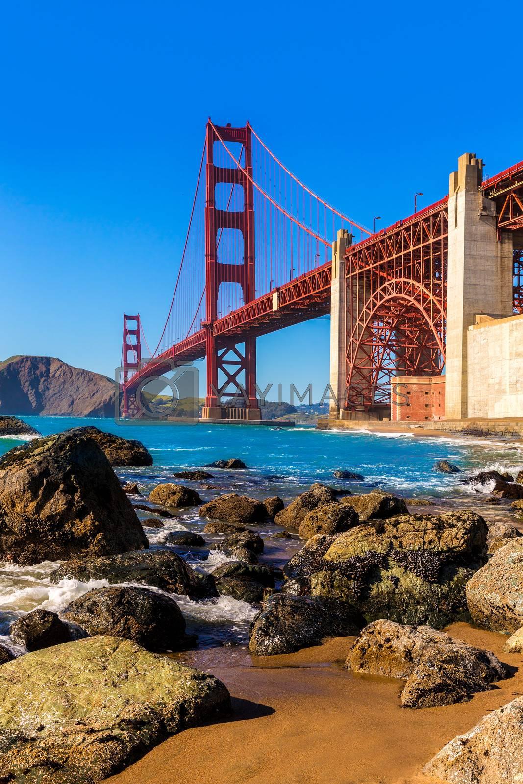 Royalty free image of San Francisco Golden Gate Bridge Marshall beach California by lunamarina