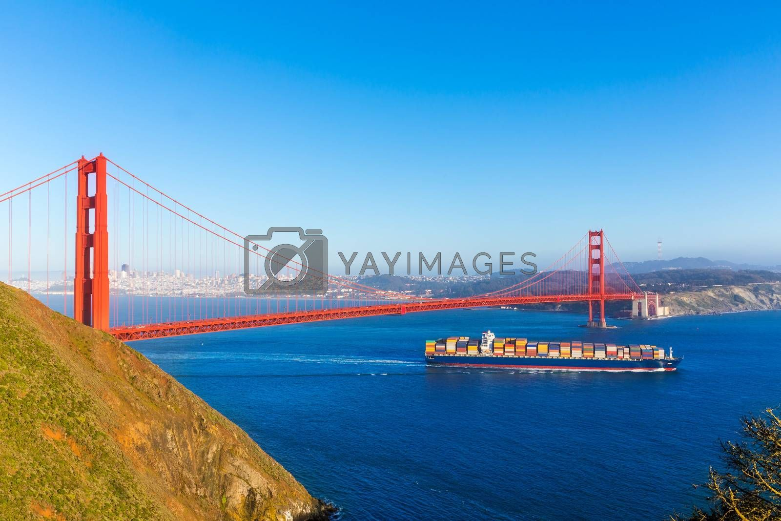 Royalty free image of San Francisco Golden Gate Bridge merchant ship in California by lunamarina