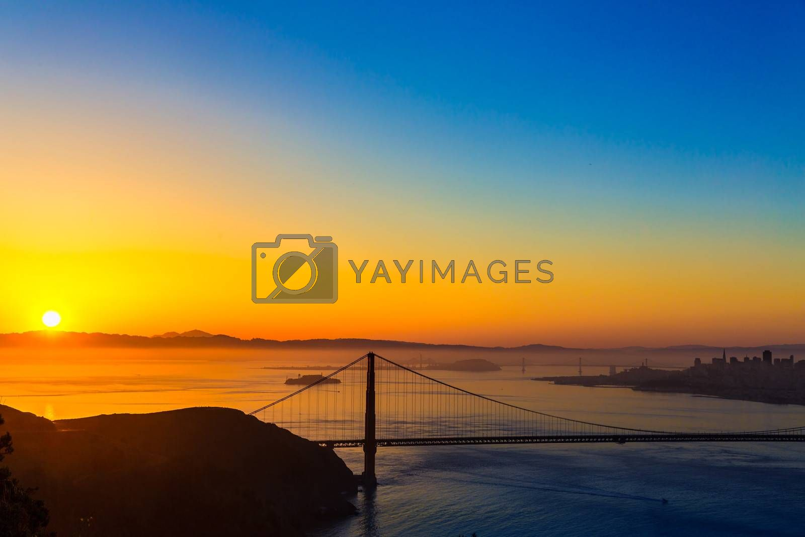 Royalty free image of Golden Gate Bridge San Francisco sunrise California by lunamarina