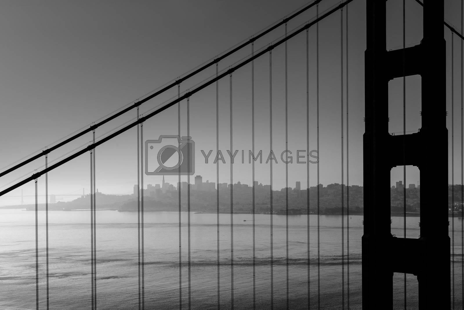 Royalty free image of San Francisco Golden Gate Bridge black and white California by lunamarina