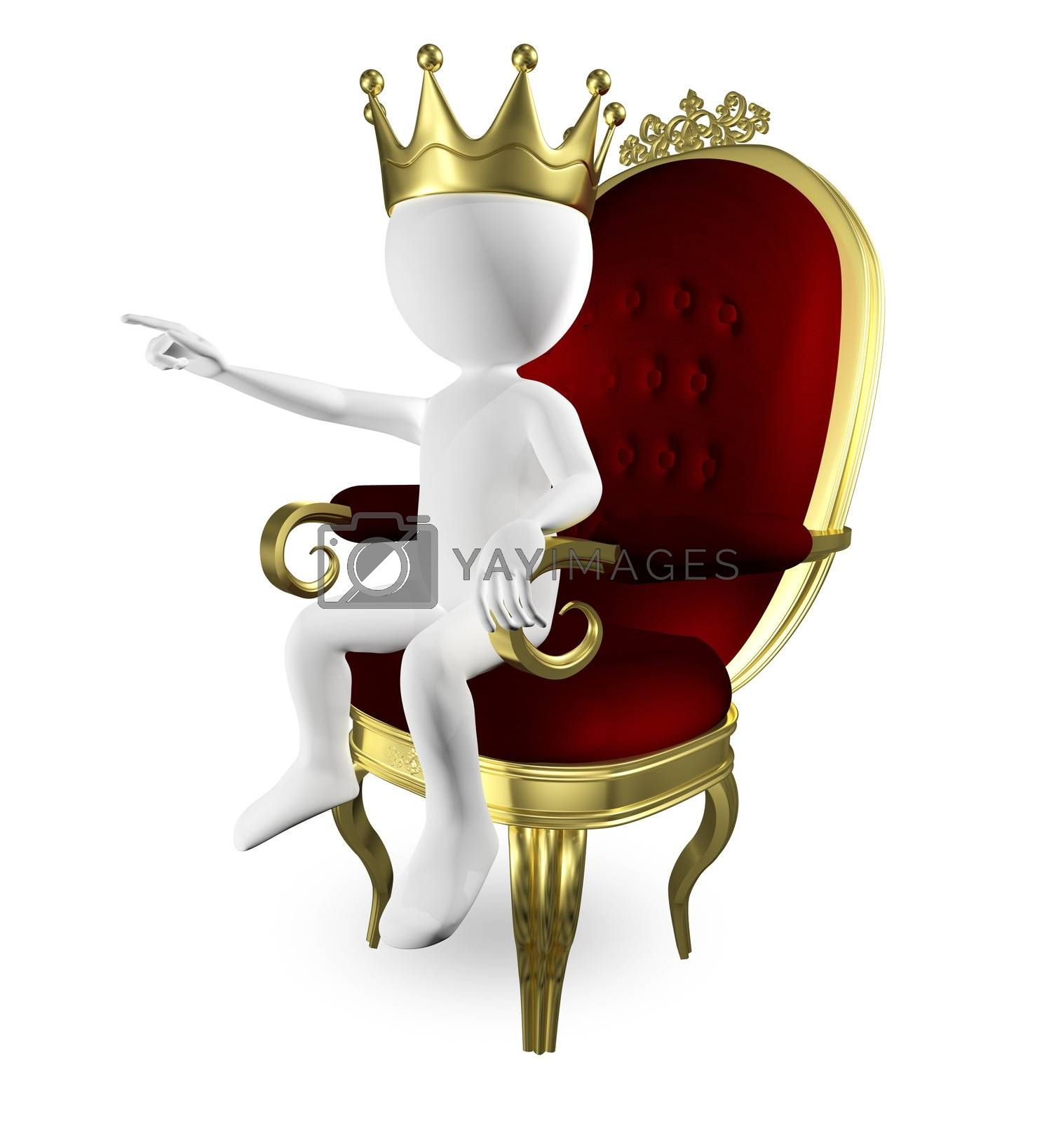 3d abstract illustration of a man on the throne