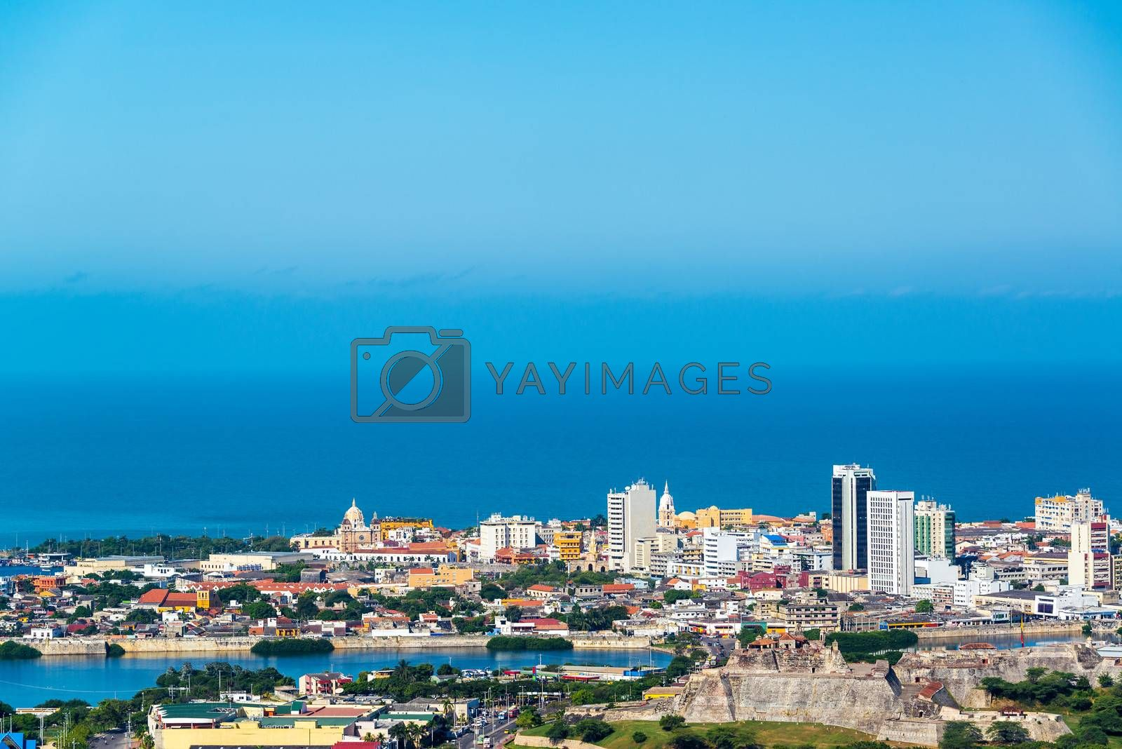 View of the historic center of Cartagena, Colombia with the old town and San Felipe de Barajas fort visible