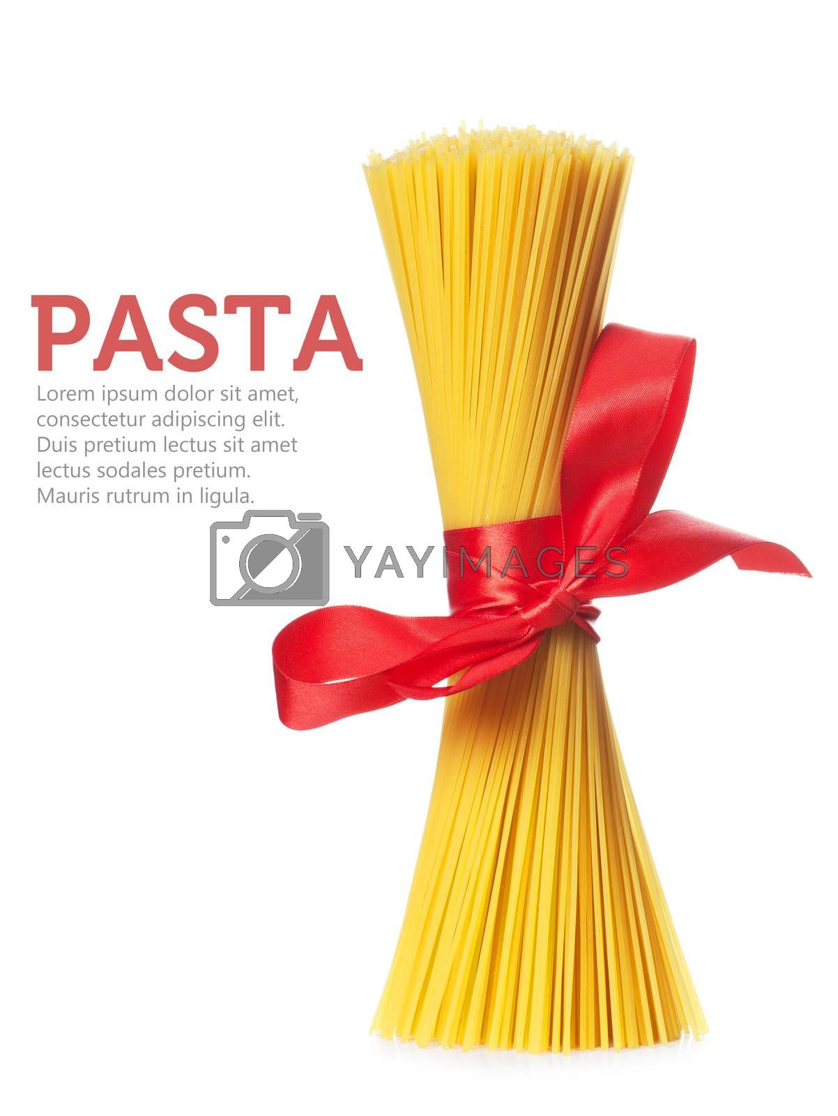 Bunch of spaghetti isolated over white background