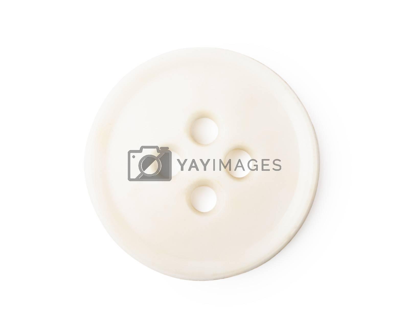 Single white old-fashioned retro button over white background