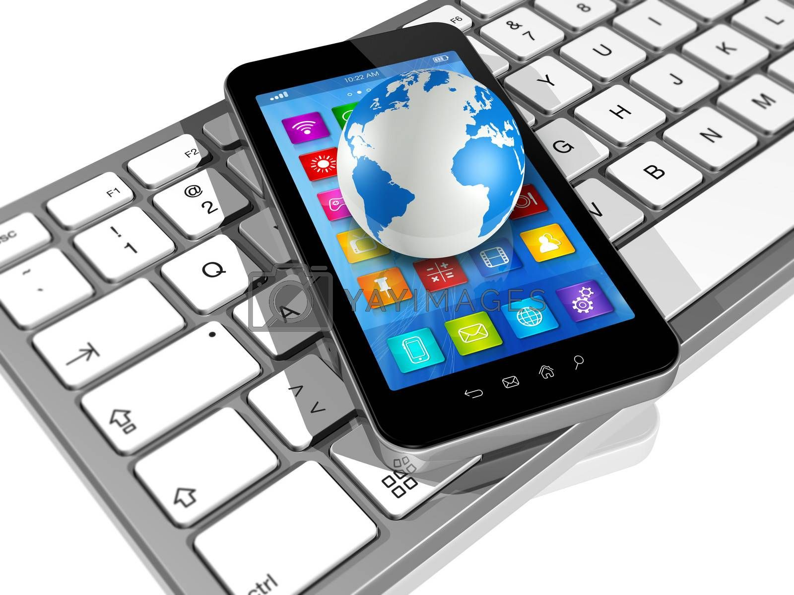 3D Smartphone with apps icons on Computer Keyboard and World Globe isolated on white