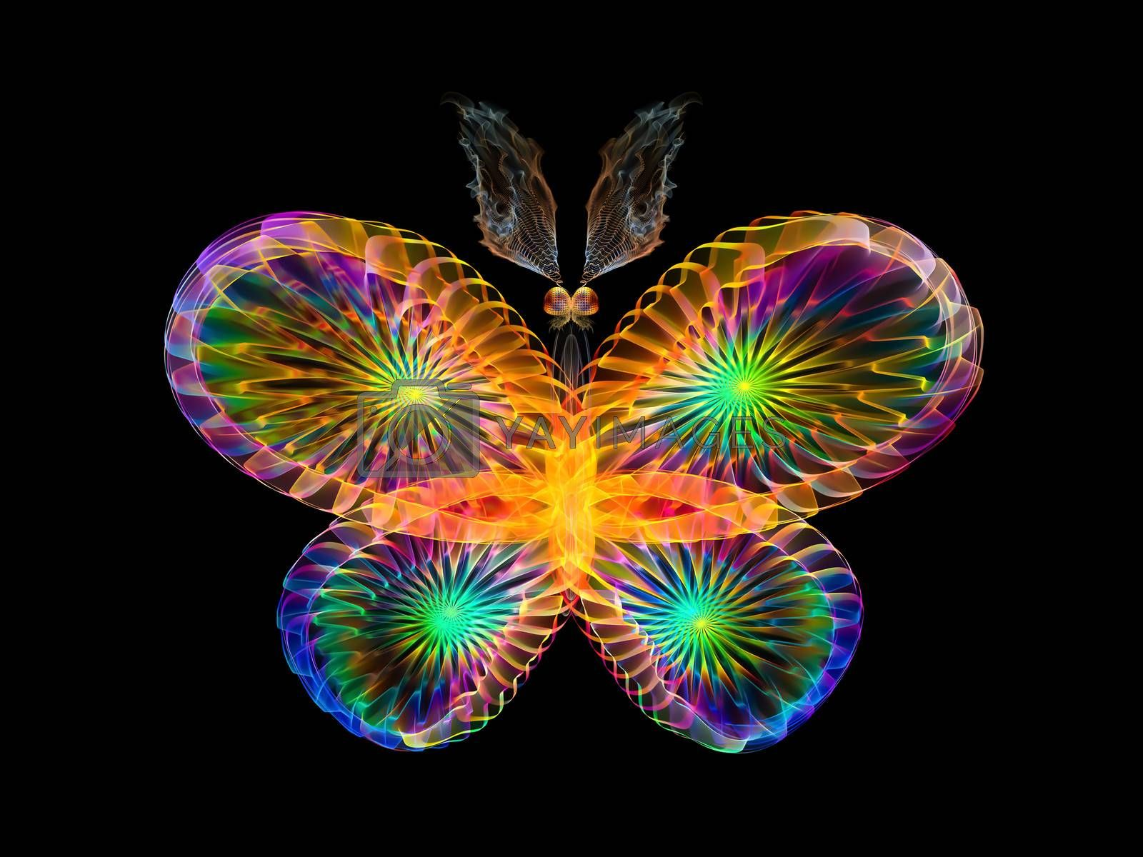 Butterflies of Never series. Composition of fractal organic textures on the subject of science, biology,  design, creativity and imagination