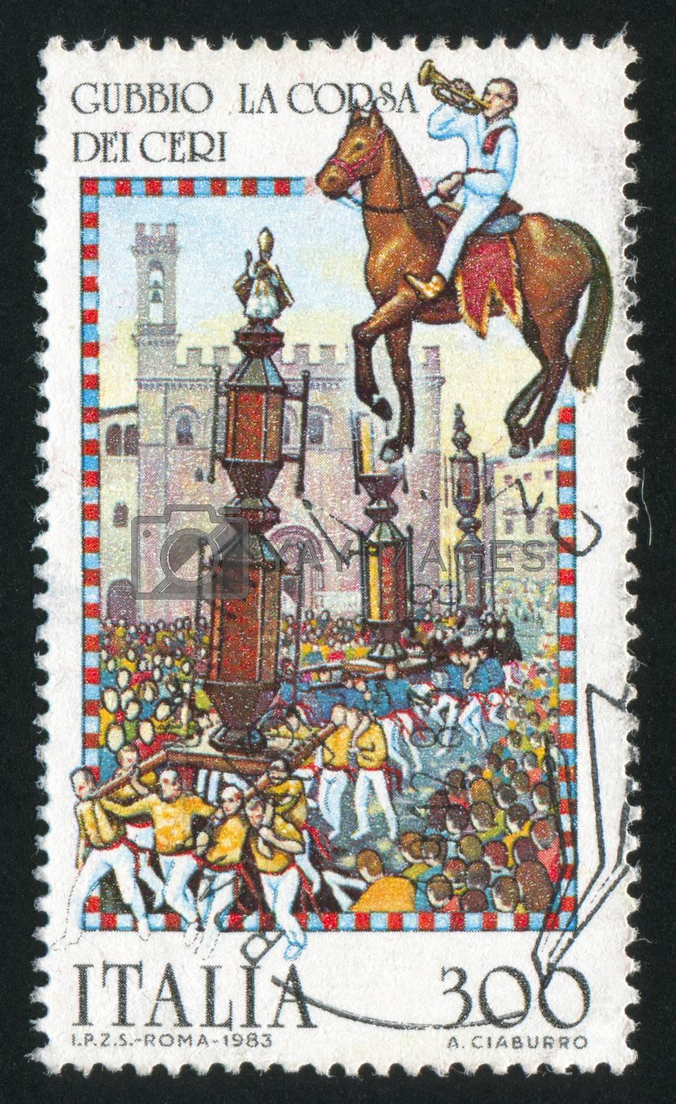 ITALY - CIRCA 1983: stamp printed by Italy, shows La Corsa Dei Ceri Procession, Gubbio, Folk Celebration, circa 1983