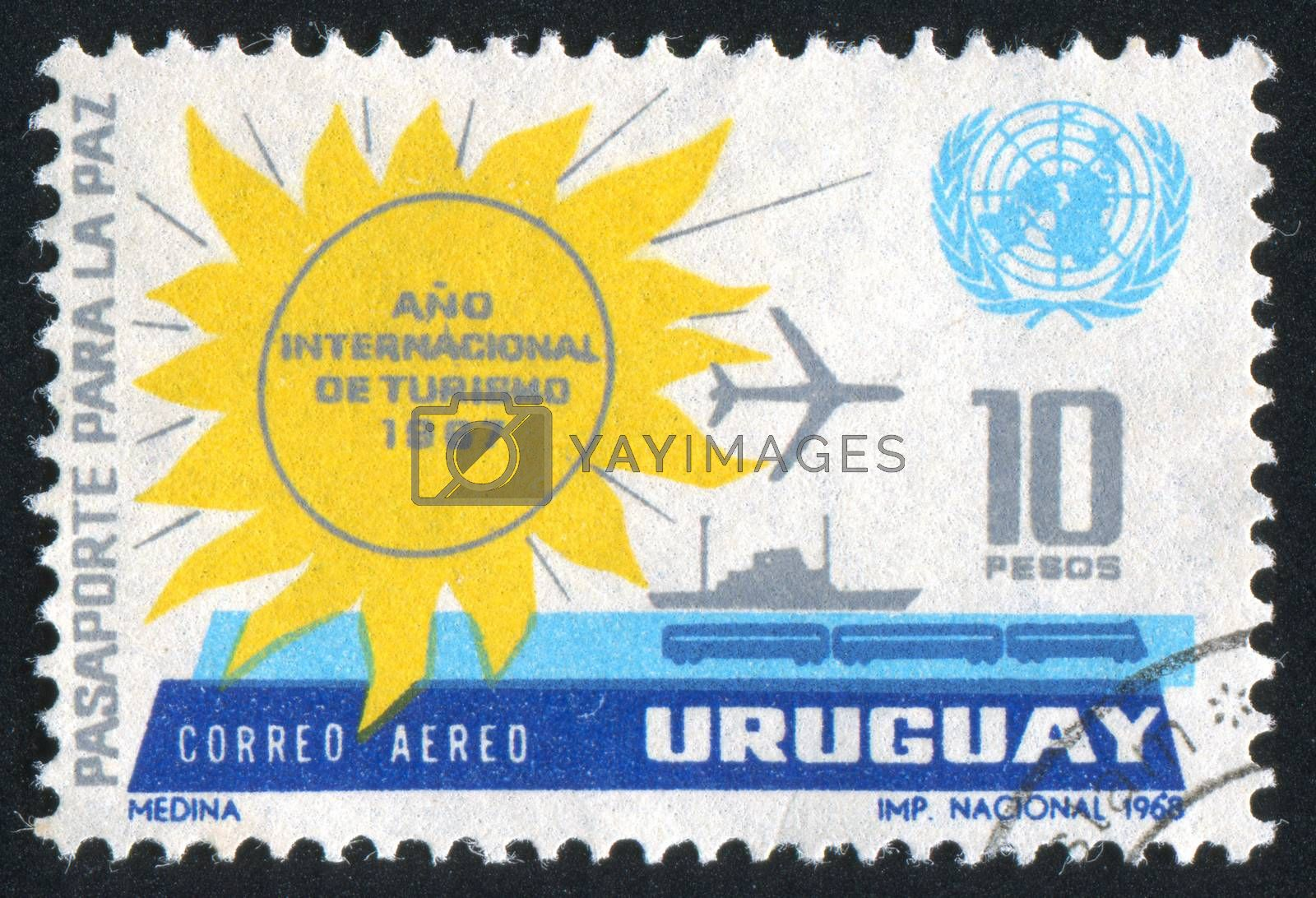 URUGUAY - CIRCA 1968: stamp printed by Uruguay, shows Sun, UN Emblem and Transportation Means, circa 1968