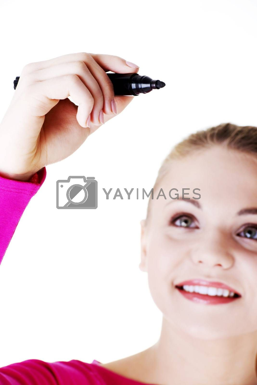 Royalty free image of Beautiful caucasian blond woman writing on copy space. by BDS