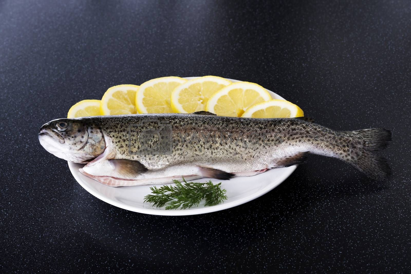 Royalty free image of Fresh raw fish lying on a plate. by BDS
