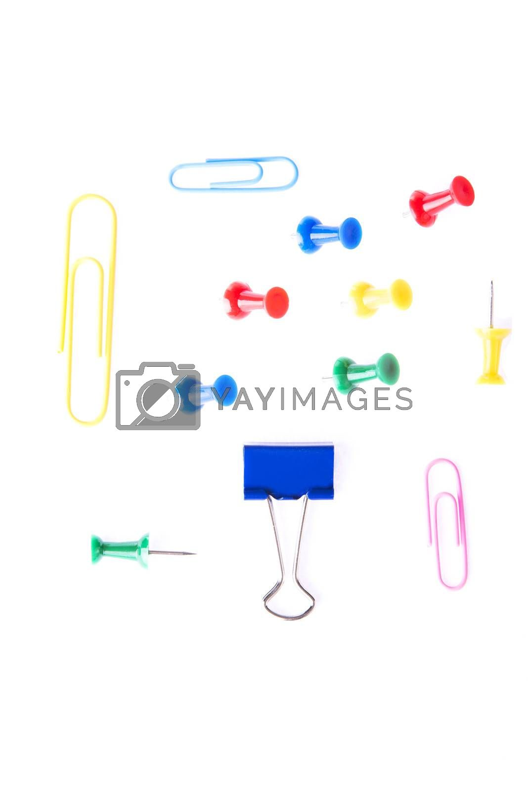 Royalty free image of Colorful office equimpent- clips and drawing pins. by BDS