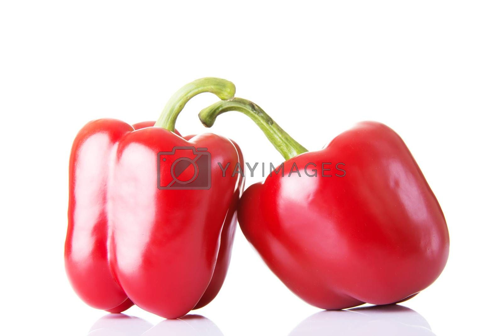 Two red paprika vegetable. Isolated on white.