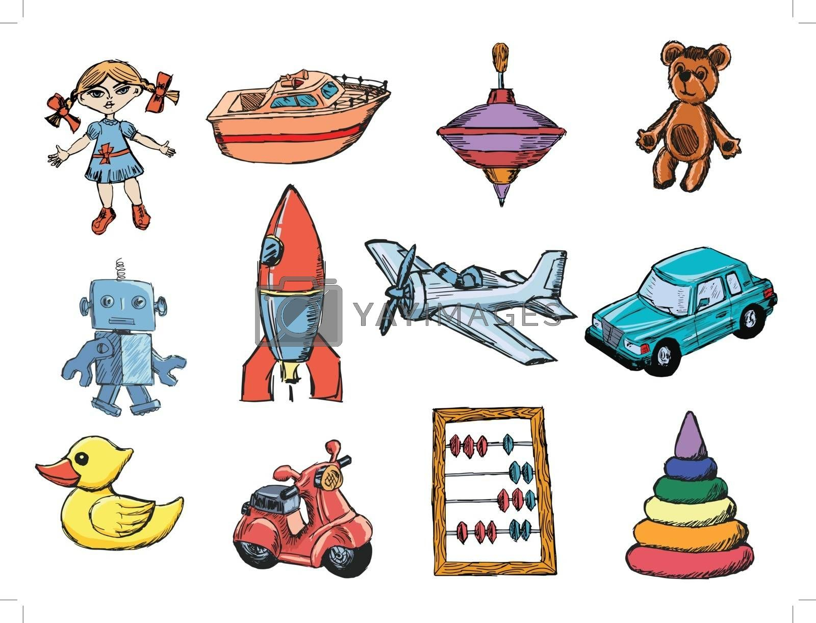 Royalty free image of set of toys by Perysty