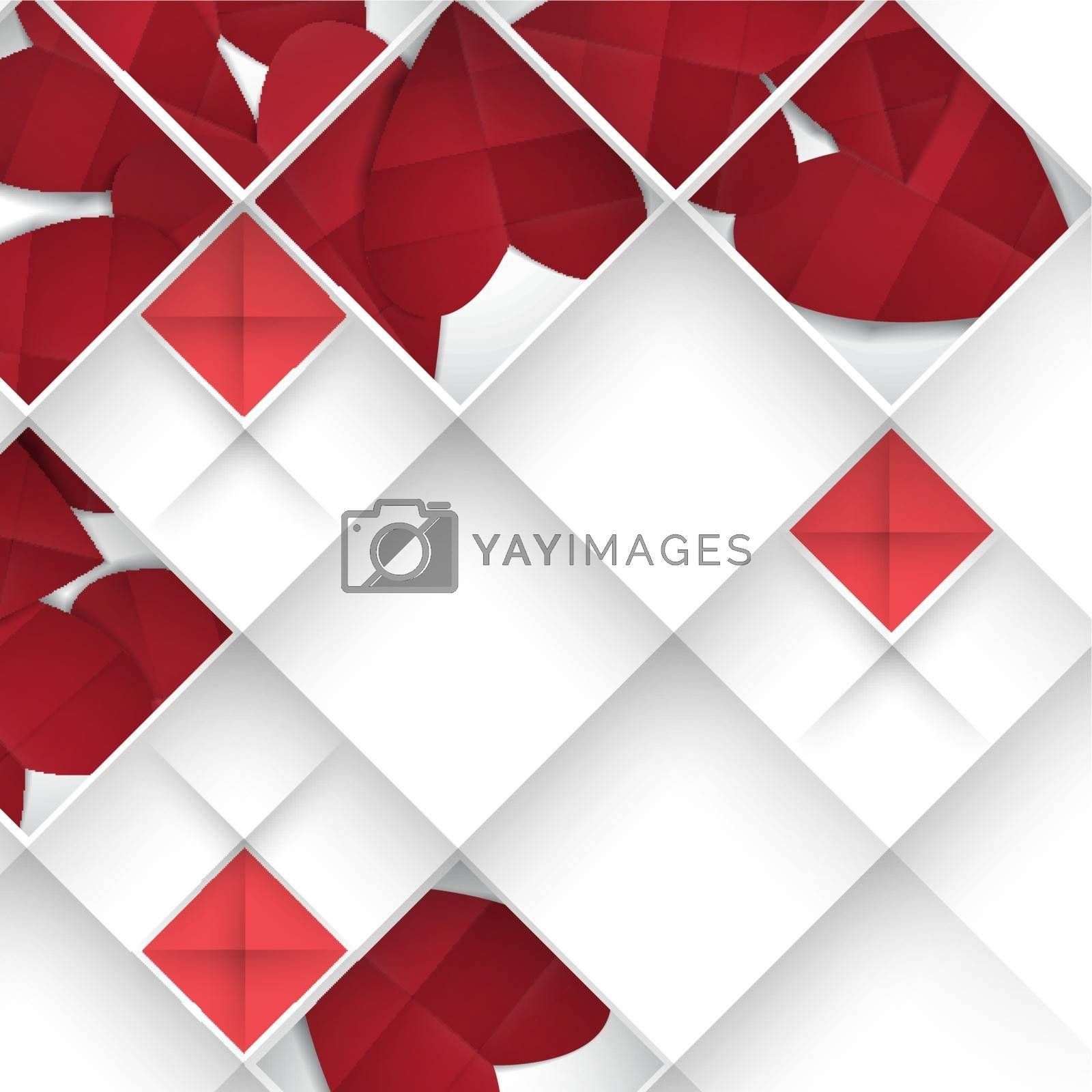 Abstract 3D Geometrical Design.  Happy Valentines Day.  Vector Illustration. Eps 10.