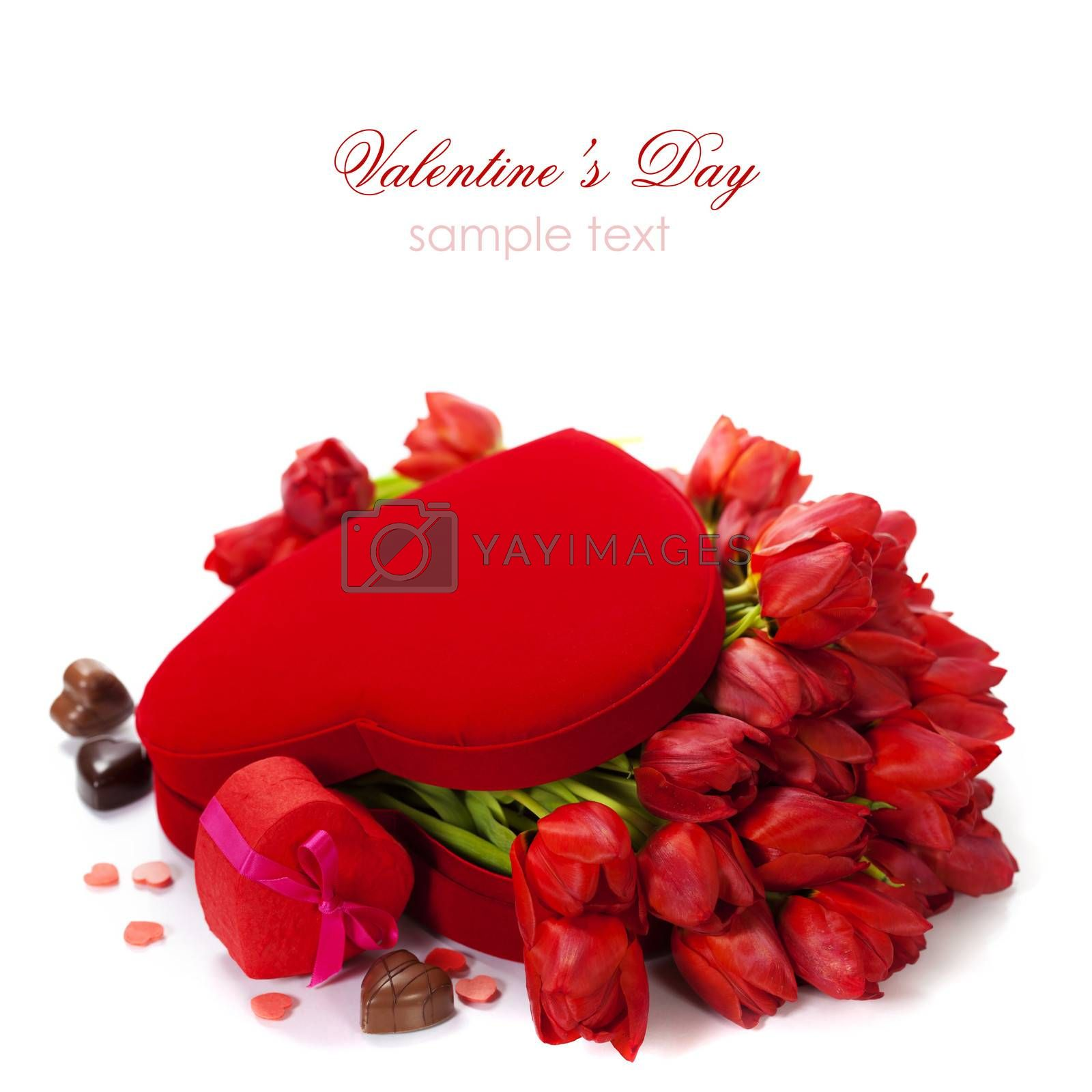 Valentine composition with red tulips in the box (with easy removable text)
