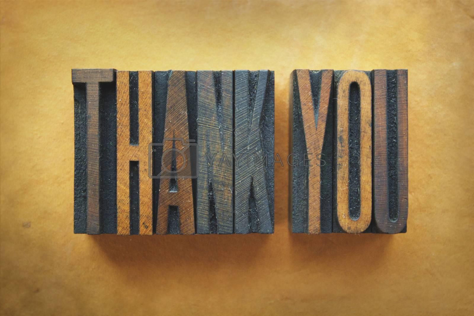 The words THANK YOU written in vintage letterpress type.