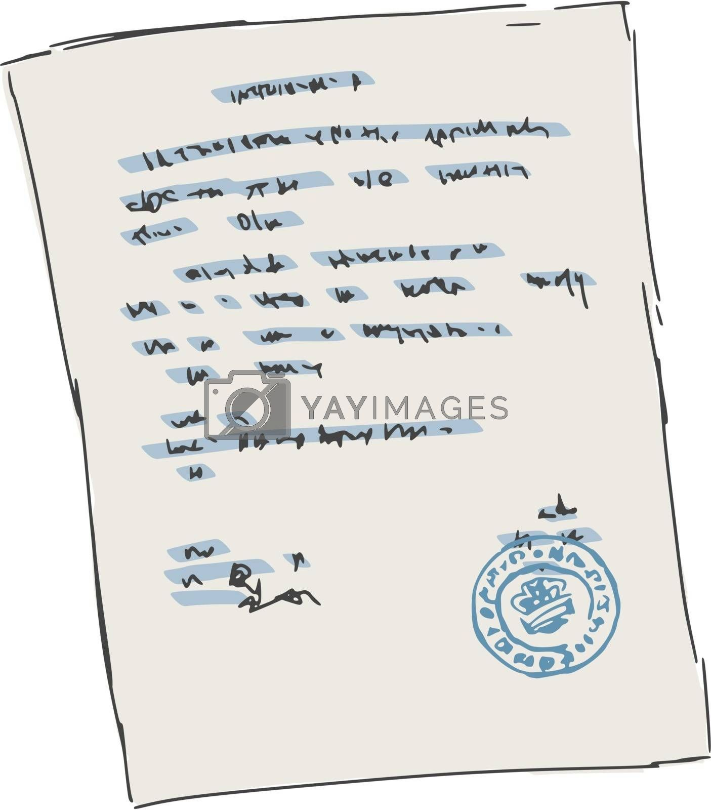 hand drawn, sketch, cartoon illustration of sheet of document