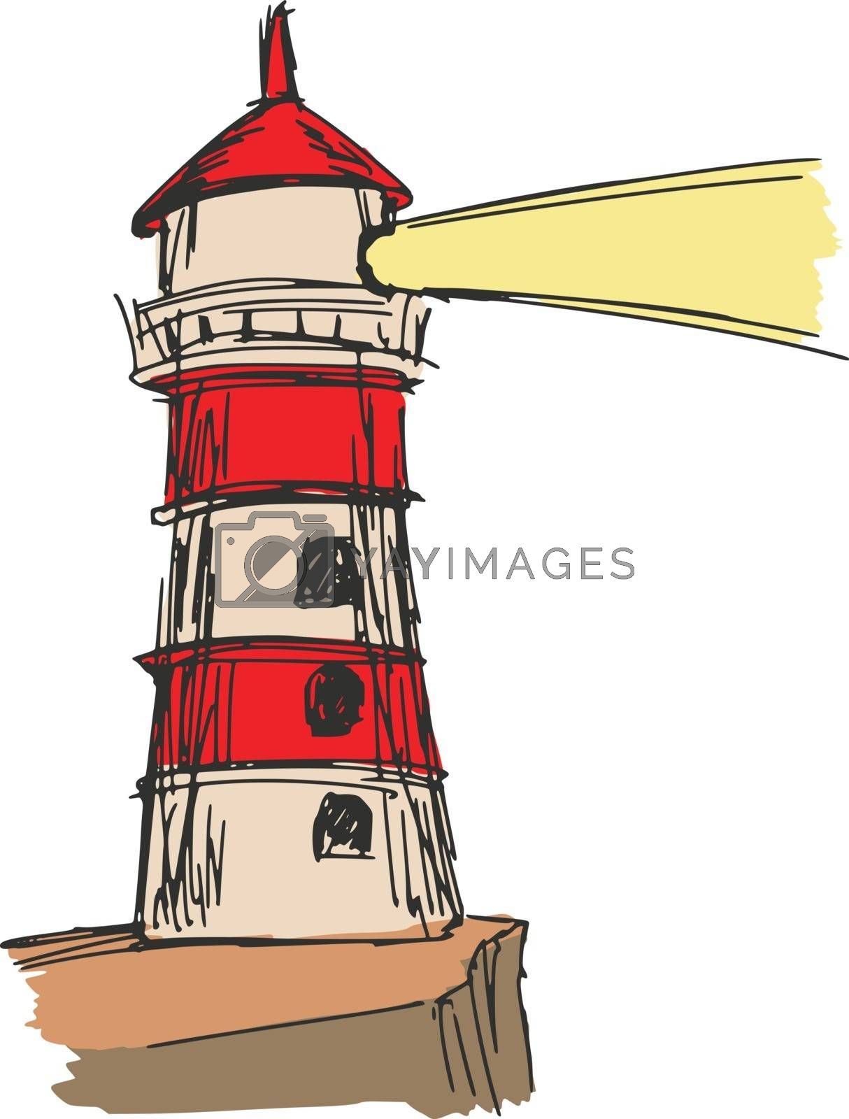 hand drawn, sketch, cartoon illustration of lighthouse