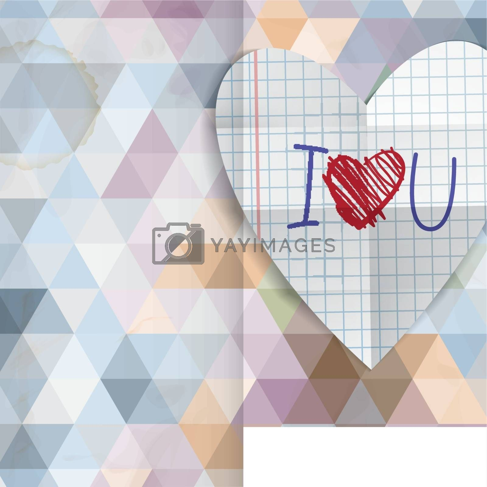 Greeting Card Design, Template. Happy Valentines Day.  Vector Illustration. Eps 10.