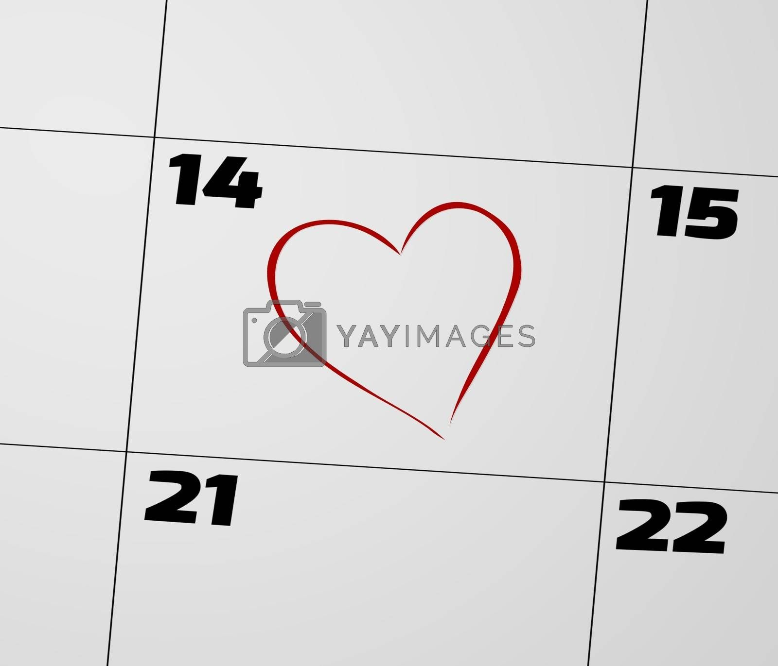 Illustration of a calendar page focusing on the 14th and marked with a red love heart