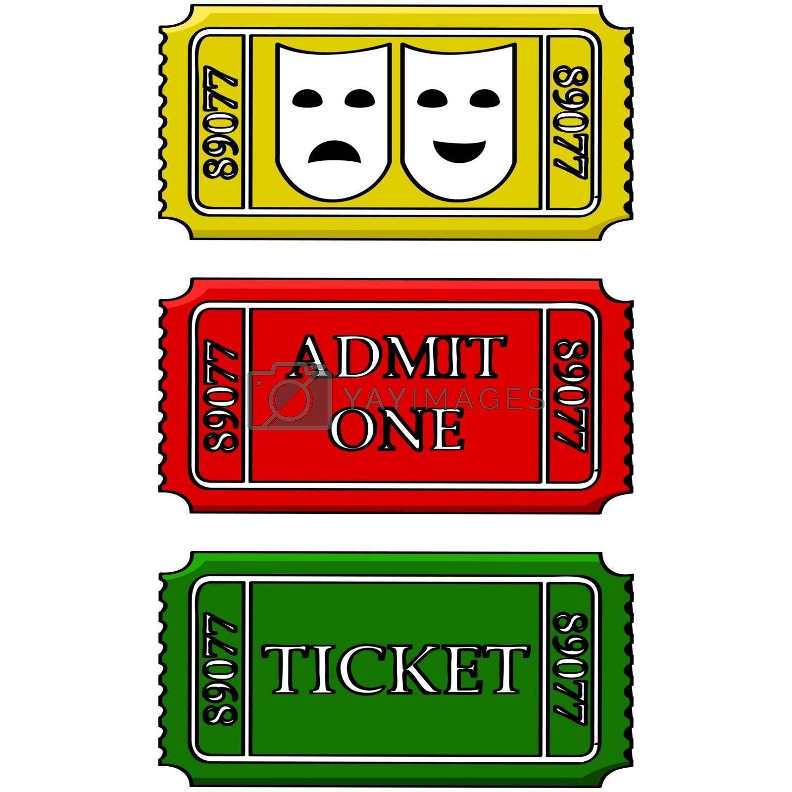 Cartoon illustration showing tickets for the movies and/or theatre