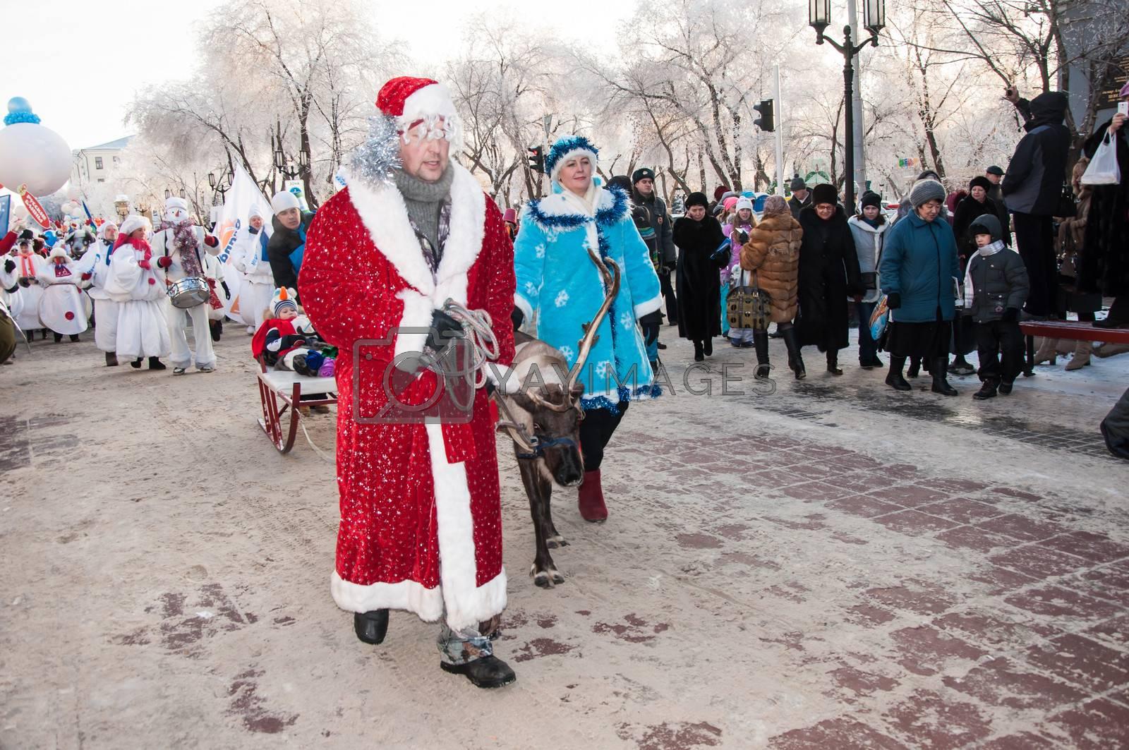 ORENBURG, ORENBURG region, RUSSIA, December 30, 2013 year. New year competition of snowmen